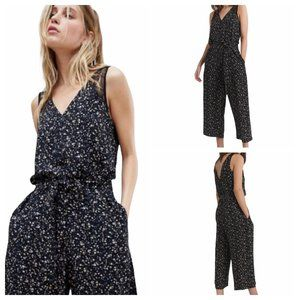 AllSaints Cate Pepper Black Floral Jumpsuit V-Neck